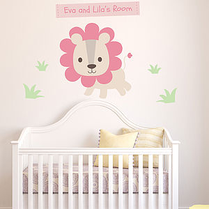 Personalised Pastel Lion Vinyl Wall Sticker