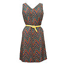 Valerie Zigzag Print Silk Dress