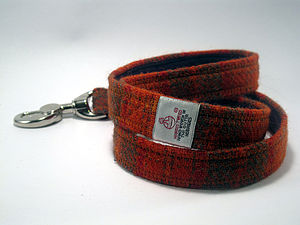 Check Harris Tweed Dog Lead - out and about