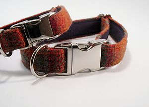 Check Harris Tweed Dog Collar - dogs