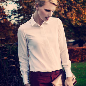 Classic Silk Shirt In White Or Navy - blouses & shirts