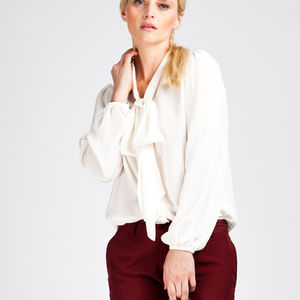 Ivory Silk Pussy Bow Shirt - women's fashion
