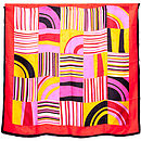 Geometric Print Silk Satin Square Scarf