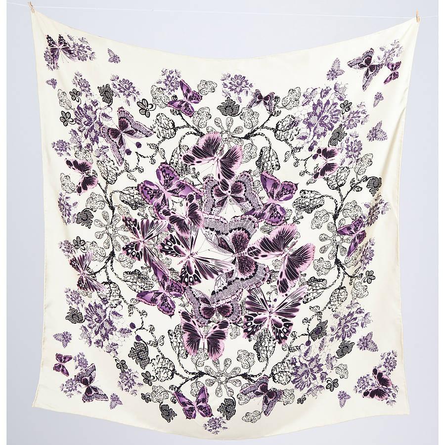 Floral Print Silk Satin Square Scarf