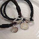 Men's Leather Bracelet With Personalised Disc