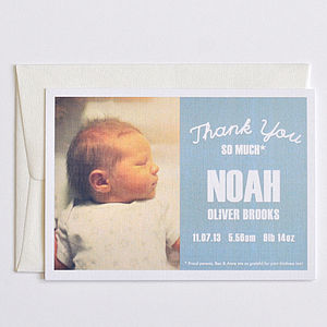 Noah Baby Thank You Card - new baby cards