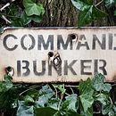 Wooden Command Bunker Sign