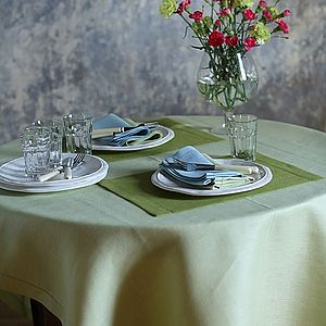 Tablecloth Linen Light Green Emilia - home