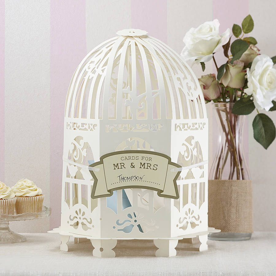 ivory birdcage wedding card post box by ginger ray