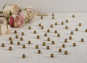 Gold Table Pearls Confetti Wedding Decor