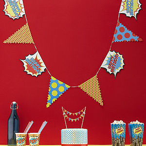 Happy Birthday Superhero Pop Party Bunting - children's parties