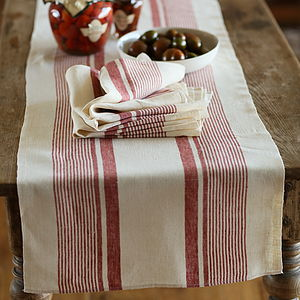 Runner Cream Red Striped Linen Antico - bed, bath & table linen