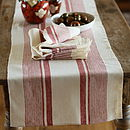 Runner Cream Red Striped Linen Antico
