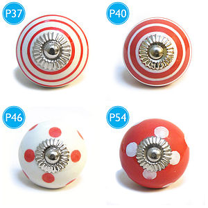 Red Spots & Stripes Ceramic Cupboard Knob - shop by price