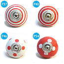 Red Spots And Stripes Ceramic Cupboard Door Knob