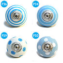 porcelain blue cabinet door knobs for chest of drawers, wardrobe cabinets and dresser doors.