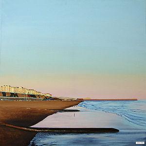 Original Tidal Sunset Painting Kemptown Light - paintings & canvases