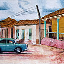 Cuban Street Scene with Green Car By Jacqueline Hammond for Smart Deco Style