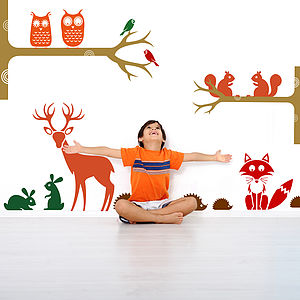 Friendly Woodland Animals Wall Stickers - children's room accessories