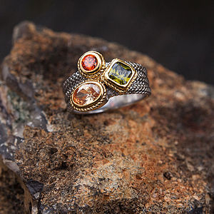 Smokey Quartz And Peridot Gold And Silver Ring - rings