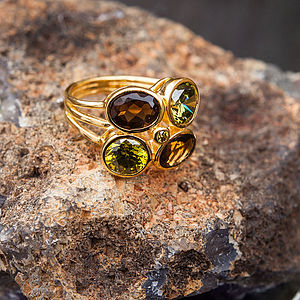 Peridot And Smokey Quartz Stacking Ring - august birthstone