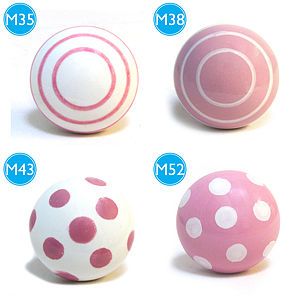 Pink Modern Spots & Stripes Ceramic Knobs - children's room accessories