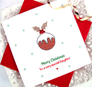 Personalised Embroidered Pudding Xmas Card - cards