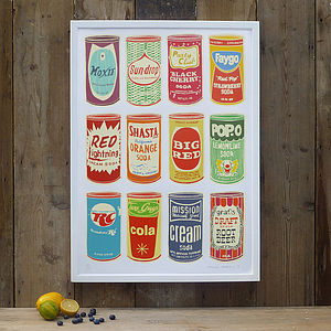 Retro Soda Cans - posters & prints