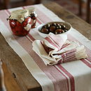 Napkin Cream Red Striped Linen Antico