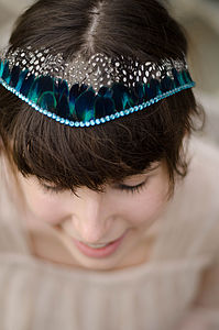 Blue Crystal And Feather Tiara - something blue
