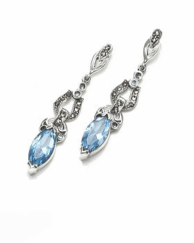 Blue Topaz And Marcasite Earrings