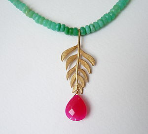 Gold Plated Kiki Leaf Chrysoprase Necklace - spring brights