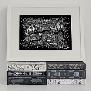 Literary Central London Map Art Print - home accessories