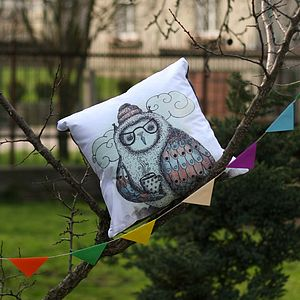 Illustrated Owl Cushion