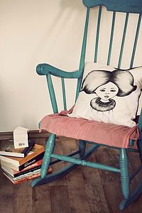 Illustrated Big Haired Girl Cushion