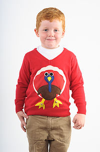 Kids Squeaky Tummy Turkey Christmas Jumpers - clothing