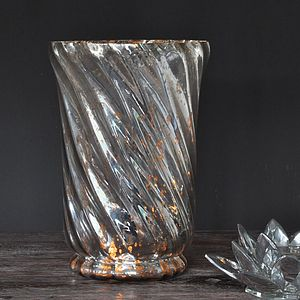 Antique Silver Twist Hurricane Lantern/Vase - lighting