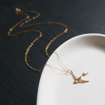Little Swallow Necklace In Gold Fill