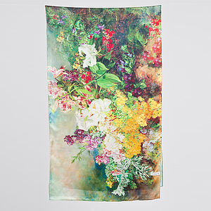 Oria Floral Printed Silk Satin Scarf - hats, scarves & gloves