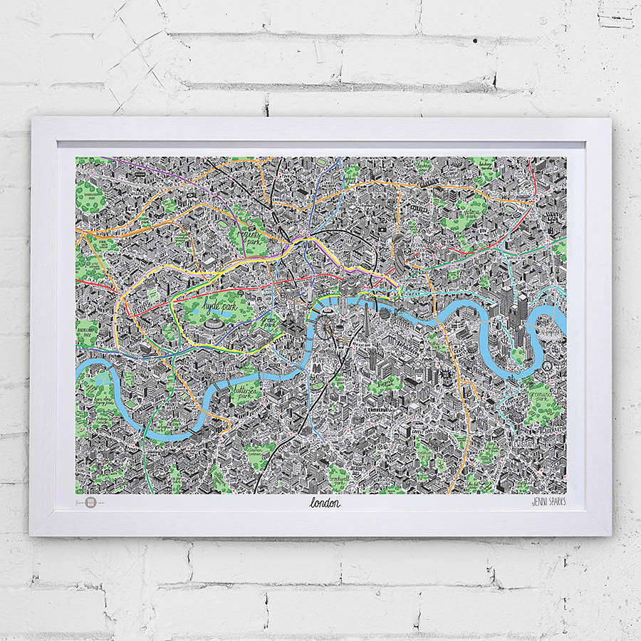 Hand Drawn Map Of London Print By Evermade Notonthehighstreet Com