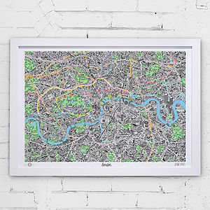 Hand Drawn Map Of London Print - frequent traveller