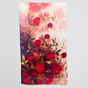 Oria Rose Printed Silk Satin Scarf - hats, scarves & gloves