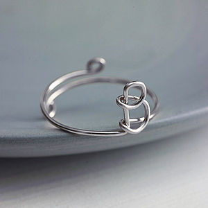 Delicate Sterling Silver Initial Ring - rings