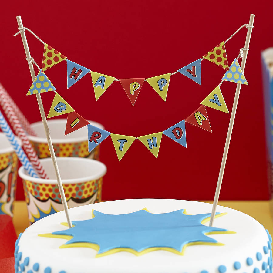 homepage > GINGER RAY > POP ART SUPERHERO HAPPY BIRTHDAY CAKE BUNTING