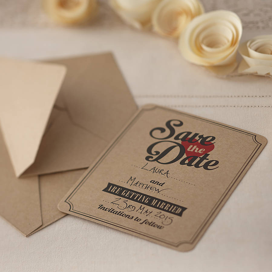 brown kraft save the date wedding invites by ginger ray – Save the Date Wedding Invite