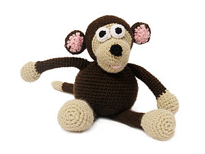 Knitted Monkey With Rattle Or Without - soft toys & dolls