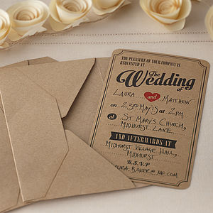 Brown Kraft Vintage Wedding Invitations - wedding stationery