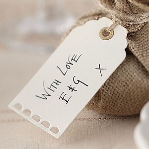Scallop Edged Ivory Luggage Tags - wedding favours
