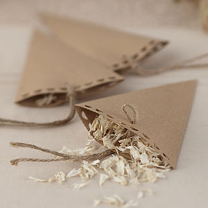 Brown Kraft Vintage Wedding Confetti Cones - confetti & petals