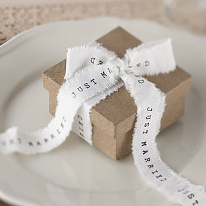 Just Married Vintage Frayed Wedding Ribbon - wedding favours